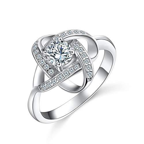 Blisfille Ringe Damen Orientalisch Bandring Silber 925 Knot Ringe Trauringe Eheringe Damenringe Silber Zirkonia Gr. 52 (16.6)