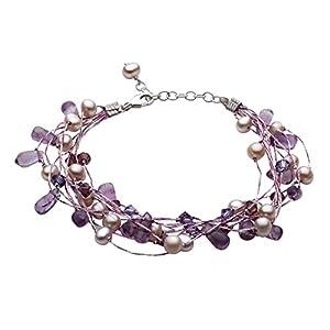 Dew Damen-Armband 925 Sterling-Silber mit Perlen und Swarovski Kristallen 70GEAM