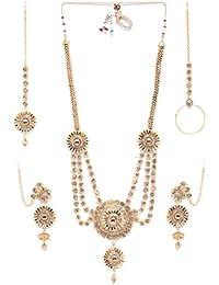 Zaveri Pearls Mesmerising Gold Tone Bridal Necklace Set For Women -ZPFK6773
