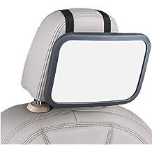NWYJR Baby coche espejo 360 grado ajuste claro seguro grande Simple asiento trasero trasero vista fijación correas curvado vidrio espejo retrovisor , gray