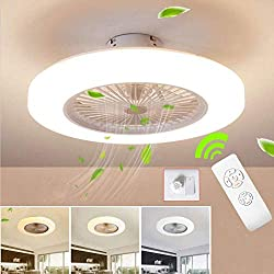 SLZ Ventilateur De Plafond avec Lampe, 36W Creative Invisible Fan LED Plafonnier Télécommande Dimmable Ultra-Silencieux Can Timing Fan Lustre Chambre Enfants Ventilateur Lampe