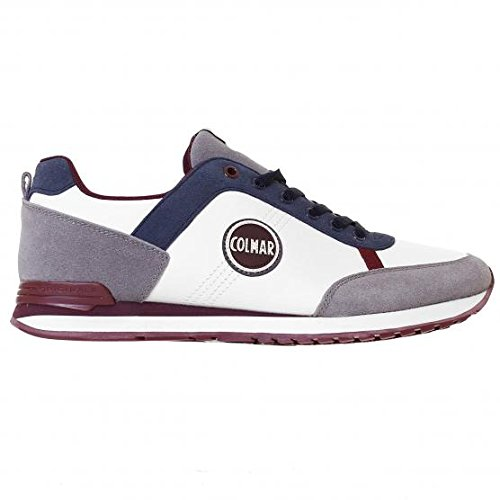 Colmar TRAVIS ORIGINALS Sneakers Uomo Pelle WHITE/GREY/BURGUNDY/NAVY BLUE WHITE/GREY/BURGUNDY/NAVY BLUE 41