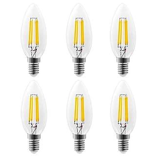 E14 LED Warmweiss, LED Birne 4W Kerzen Glühfaden Ersetzt 40W Glühlampen 470LM 2700K warmweiß Klassische Kerzenbirnen Vintage, nicht dimmbar, 6er Pack