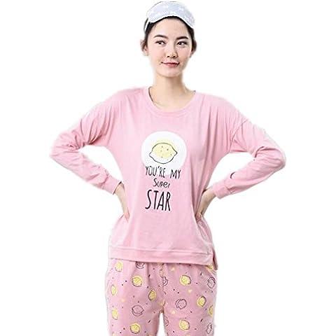 LIUDOU Pijama chicas Linda de la historieta manga larga algodón ropa trajes de algodón , 165 (l)