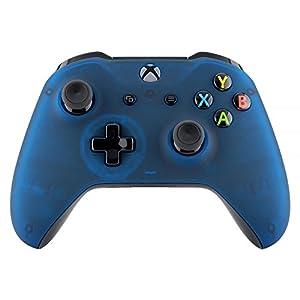 eXtremeRate Hülle für Xbox One S/X,Case Schutzhülle Hülle Gehäuse Cover Schale Skin Shell Zubehör Set für Xbox One S/Xbox One X Controller(Blau Transparent)