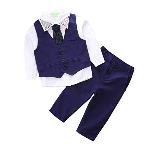 Dexinx Bambino Ragazzo Manica Lunga Camicia con Tie & Gentiluomo Gilet & Elegante Pantaloni Colore Solido 3 Pezzi Suit 7T