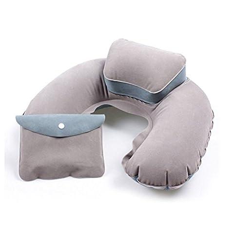 BlueBeach® Coussin Oreiller de voyage gonflable Coussin de repos pour la tête et le cou souple pour l'avion / le bus / la voiture / le train et l'usage à la maison