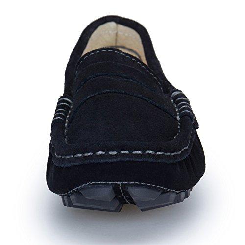 KOUDYEN Femme Glisser Sur Suède Mocassins Confort Conduite Chaussures Flâneurs Noir