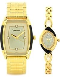 Sonata Analog Gold Dial Unisex Watch-70808069YM02