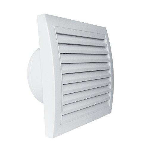 MB Ventilatoren | Badlüfter MM 100 T | Nachlauf- Timer | Leise 32 dB (3 m) | Kugellager | Rückstauklappe | Leistungsstark bis zu 169 m³/Stunde | Ø 100 mm | quadratisch | weiß