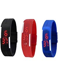 SPLENDID Led Magnet Rubber Wrist Band Black Blue Red Colour Set Of 3 Watch - For Men & Women