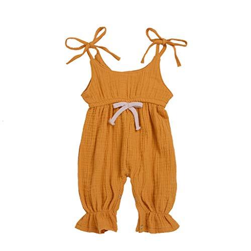 DressLksnf Baby Mädchen Overall Ärmellose Sling Jumpsuit Einfarbig Bogen Strampler Sommer Overall