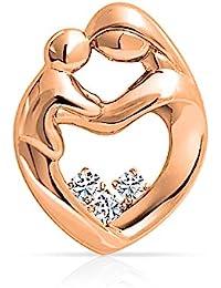 Bling Jewelry Argent 925 plaqué Or Rose Pendentif coeur enfant mère CZ