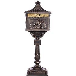 Antiker großer und sehr edler Briefkasten GLY 05 Bronze Standbriefkasten, Säulenbriefkasten, Nostalgischer Englischer Briefkasten Alu - Guss 116 cm hoch . Mit riesigem Postfach für mehr Volumen.
