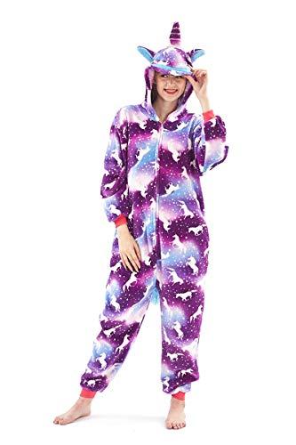 Pigiama o costume di carnevale halloween pigiama cosplay party onepiece intero animali regalo di compleanno per adulti adolescenziale ragazzi (s(145-155cm), unicorno viola)