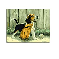 WYTCY Puppy Dog Animal Picture On Wall Acrylic Painting By Numbers Drawing By Numbers Unique Gift Coloring By Numbers Without Framed 40x50cm