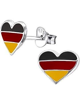 Laimons Damen-Ohrstecker Herz-Flagge Deutschland Sterling Silber 925