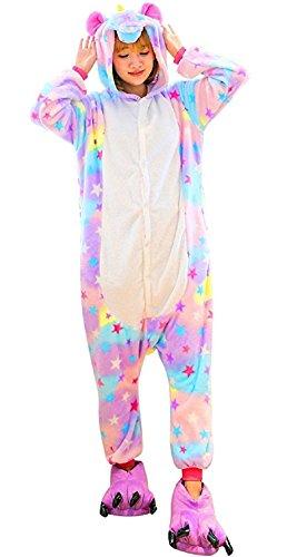 TIAQUE Einhorn Kostüm Damen Herren, Onesie Einhorn Erwachsene Karneval Halloween Tier Cosplay Pyjama Jumpsuit (M (159cm-169cm), Sterne)