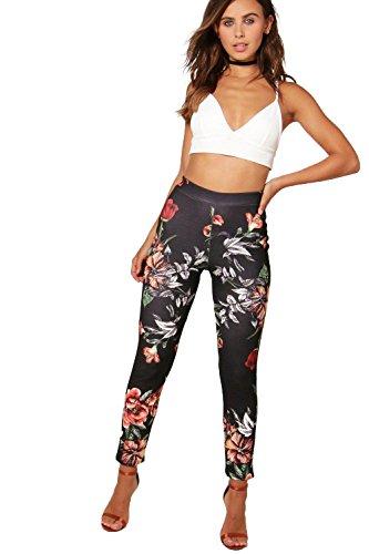Femmes Noir Petite Freya Pantalon Skinny Taille Haute Floral Noir