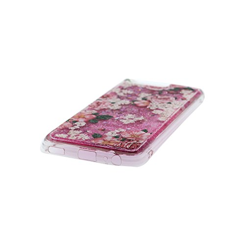 Custodia iPhone 7, iPhone 7 Copertura Cover 4.7 pollice, | Bling Glitter flowing che scintillio galleggiante trasparente | Cartoon Multiflora Rose iPhone 7 Case (4.7) | Anti-Graffi Slip Color 1