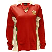 LADIES WOMENS WELSH CYMRU RUGBY LONG SLEEVE CLASSIC RUGBY V COLLAR COTTON T-SHIRT TOP
