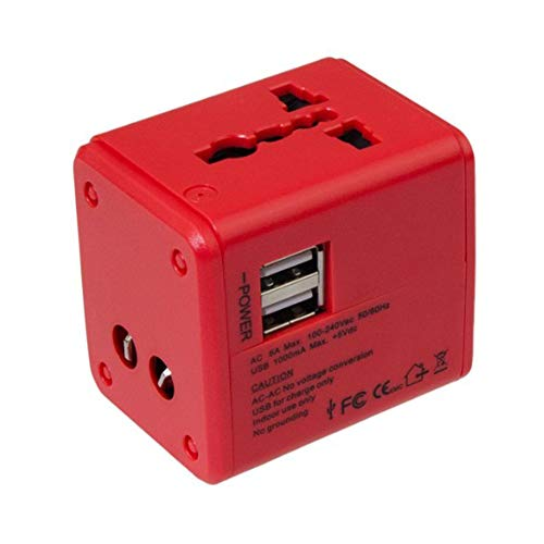GYLFDC Universal-Reiseadapter, Dual-USB-Umwandlungsstecker, Multifunktions-Reisestecker, Universal-Smart-Plug-Konverter-Steckdose für USA AUS UK Europe,Red