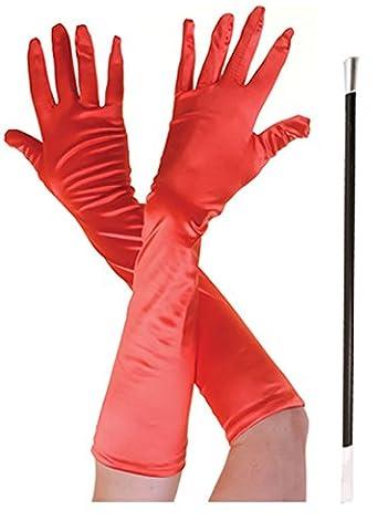 Long gants pour déguisement Noir Rouge - rouge - Taille unique