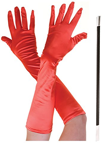 Longs gants de déguisement Cruella avec porte-cigarette - Noir et rouge -  Rouge - Taille unique
