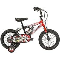 "Raleigh Sun MX14 Boys' Kids Bike Orange/Black, 9.5"" inch steel frame, 1 speed front and rear caliper brakes high raised handlebars, printed pad"