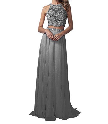 La_Marie Braut Langes Zwei-teilig Perlen Abendkleider Promkleider Partykleider Chiffon A-Linie Rock-34 Dunkel Grau