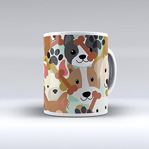 Taza decorada desayuno regalo original diseño estampado perros con hu