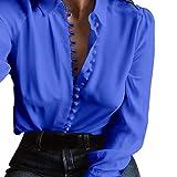 JURTEE Sommer Einfarbig Damen Oberteile Beiläufig Solide Langarm Druckknopf Bluse Revers Hemd Tief V-Ausschnitt Tops(Medium,Blau)