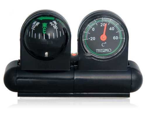 ewinever(TM) 2 in 1 Auto-Thermometer & Kompass (schwarz)