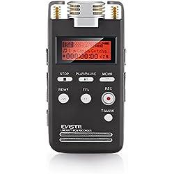 EVISTR Grabadora de Voz Digital(Manual de papel actualizado !!) 8GB Portatil Dictáfono Grabadora de Sonido de Alta Calidad PCM Lineal 1536Kbps Etiquetado Grabadora de Voz Estéreo de Grabación con Reproductor de MP3 Favorito de Micrófono Dual