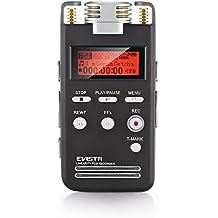 EVISTR Grabadora de Voz Digital 8GB Portatil Dictáfono Grabadora de Sonido de Alta Calidad PCM Lineal 1536Kbps Etiquetado Grabadora de Voz Estéreo de Grabación con Reproductor de MP3 Favorito de Micrófono Dual