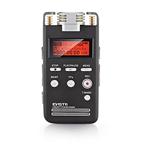 EVISTR Digital Voice Activated Recorder 8GB Portable Dictaphone High-Quality Sound Recorder 1536Kbps PCM Linearity Stereo Voice Recorder Labeling of Recording Bookmark with MP3 Player Dual Microphone