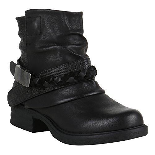 Stiefelparadies Gefütterte Damen Biker Boots Nieten Schnallen Stiefeletten Schuhe 149658 Schwarz Schnalle Carlton 40 Flandell
