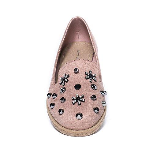 Ideal Shoes Slippers Effet Daim Incrustés de Strass et Clous Sorayna Rose