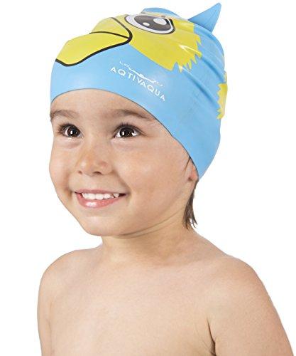 AqtivAqua Lustige Kinderbadekappe aus Silikon für Jungs und Mädchen (im Alter von 2-9) + Aufbewahrungsdose (Blaue Farbe)