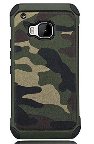 FDTCYDS HTC One M9 Hülle,HTC M9 Camo Hülle Defender Shockproof Drop Proof High Impact Rüstung Plastic und Leder TPU Hybrid Rugged Camouflage HandyHülle Schutz Cover Hülle für HTC One M9 - Grün