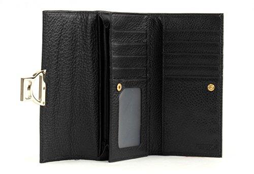 Coccinelle Metallic Soft Porte-monnaie cuir 20 cm nero Nero (Noir)