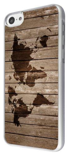 Iphone 5c Vintage en bois Motif carte du monde Vintage Look Funky Coque arrière rigide métal et plastique avec cadre transparent