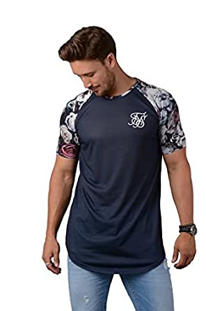 Sik silk t shirt mens 11844 raglan curved hem tee in for Mens silk shirts amazon