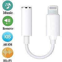 Adaptador de iPhone Adaptador Jack de 3,5 mm Conector de Auriculares Compatible con iPhone 7/7Plus/8/8 Plus/X/XR/XS/XS MAX Convertidor para Auriculares Divisor de Audio Compatible con Todos los iOS
