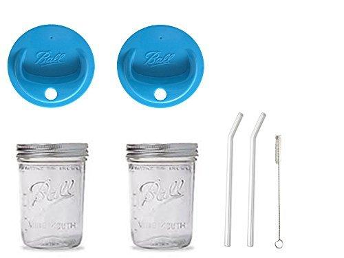 2 Mason Pint Drinking Jars with 2 Vintage Glass Bent
