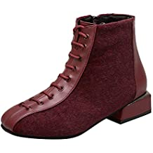 BaZhaHei-Zapatillas, Botas de Tobillo para Mujer Zapatos de tacón bajo Botas con Cordones