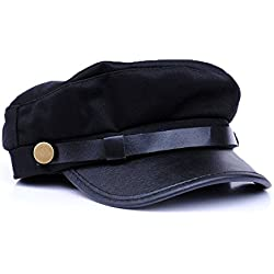 Gorra de estilo militar de capitán, para mujer, estilo Rock Chick, S/M 57cm negro tamaño único