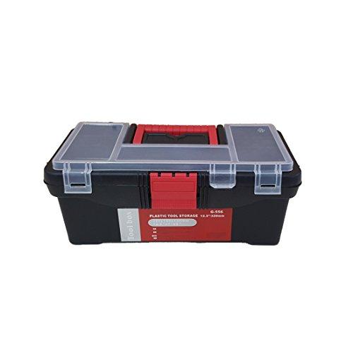 'Kassette Koffer-Werkzeug klein 12,5Ausrüstungstasche, aus Kunststoff Farbe rot und schwarz innen herausnehmbarer und Fach oben
