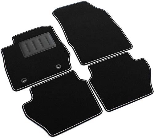 rint01301, Fußmatten Teppiche Schwarz rutschfest, verstärkter Rand, zweifarbig, Absatzschoner aus Gummi, Fiesta MK710/2008> 20113/5Türen mit Befestigungen Bohrung Oval. ()