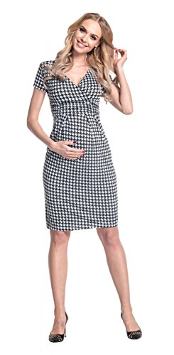 Happy Mama Femme. Robe maternité Pied-de-poule convient pour l'allaitement. 068p Noir & Blanc